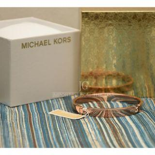 Michael Kors Bracelet MK Rose Gold Tone Logo Bangle