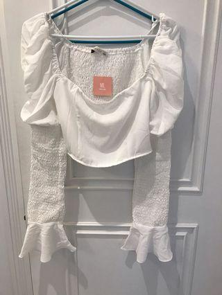 Miss Lola white cropped blouse