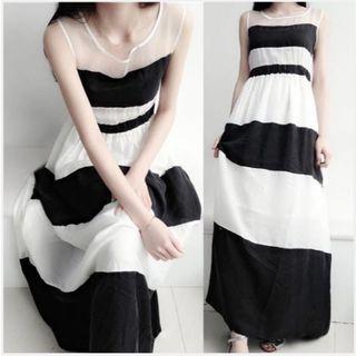 韓 透視網紗拼接雪紡寬條紋歐根紗長洋裝(黑白)