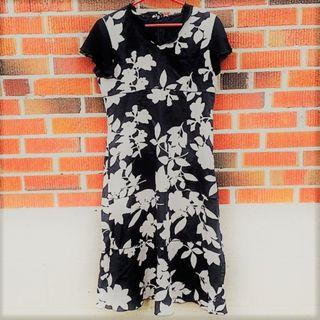 Vintage Black Floral Tea Dress - Excellent Condition