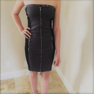 Brand New Diesel Black Strapless Tube Dress with Zipper