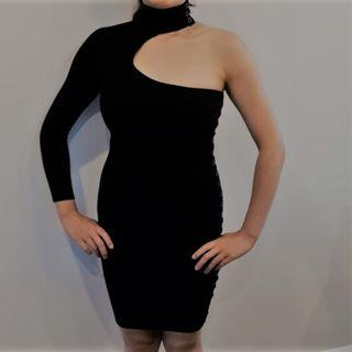 Brand New Marciano Black One Sleeve Dress with Chest Cutout