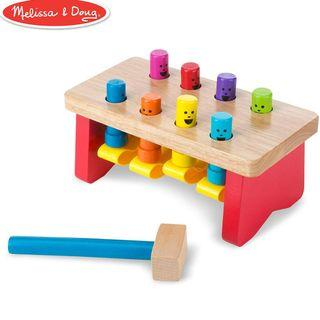 Melissa & Doug Deluxe Pounding Bench Wooden Toy with Mallet, Developmental Toy