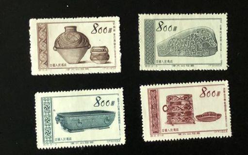 中國郵票特9古代文物,全套4枚。