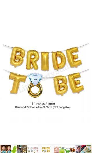 Bride To Be Balloon Set (Gold)