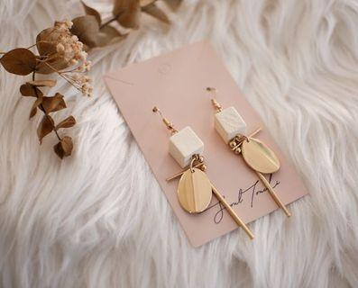 Wood beads with gold elements earring