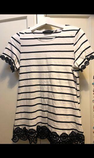 Dorothy Perkins navy stripes lace cotton top . Seldom wore with excellent condition . 34cm x 61cm. Size uk12