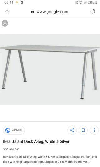 🚚 Ikea Galant table white with adjustable legs silver