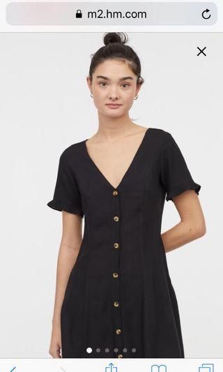 H&M black button dress