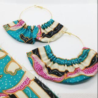 Batik Ruffled Hoop earrings
