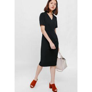 Love bonito black ruched midi dress