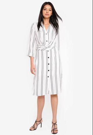 River island Samantha waisted shirt stripe dress midi length