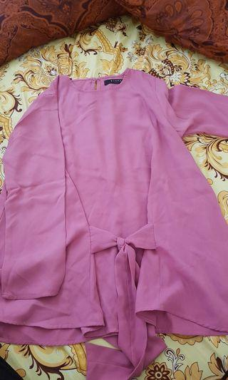 Blouse Pink Lengan Panjang