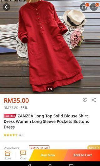 Zanzea Long Top Long Sleeve