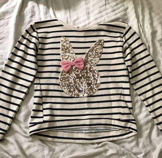 REPRICED H&M Striped White Cropped Bunny Long Sleeves Top