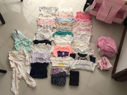 50pcs ++Preloved 0-6M Baby Girl Clothings In Bundle