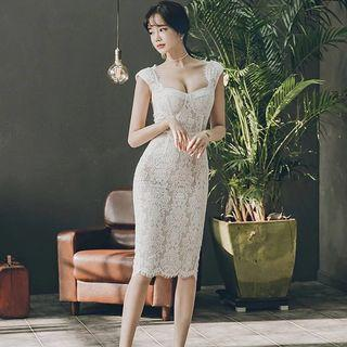 Brand New Korean Design White Fitted Lace Work Dress