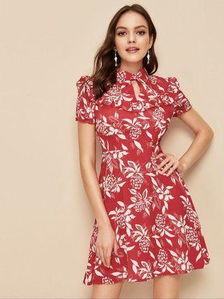 🚚 Red Floral Dress