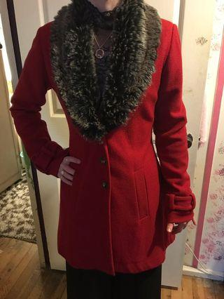Kitten d'Amour Red High Society Wool Coat w/ Faux Fur Collar
