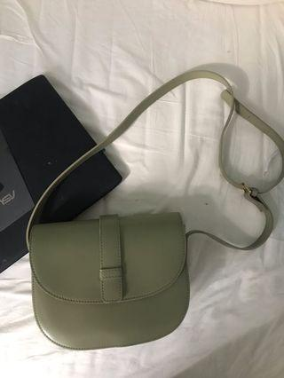 Grey green sling bag