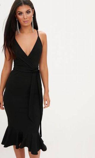 Brand new fishtail black midi strappy dress