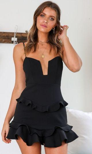 Black party cocktail strappy dress