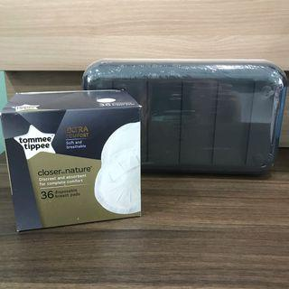 BRAND NEW Tommee Tippee closer to nature 36 disposable breast pads and milk bag storage container shelf