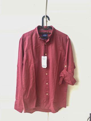 Kemeja Pull&Bear Basic Long Sleeve Linen Shirt Original