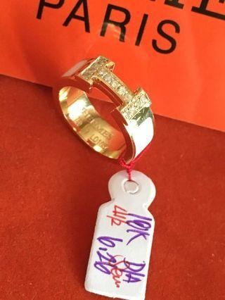 Hermes Ring with diamonds 18karat Solid gold with inclusions