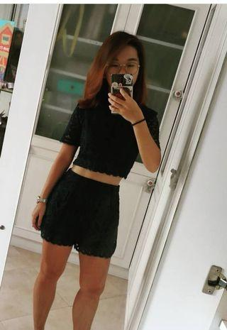 TTR Navy Lace Top and Shorts
