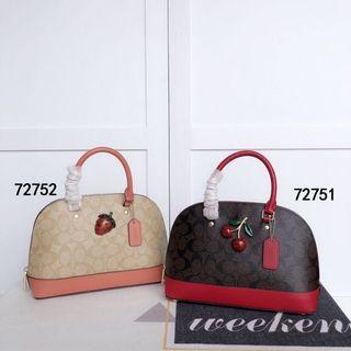 COACH 72751 72752 櫻桃貝殼包 草莓貝殼包 立體水果鑲嵌 單肩斜挎包 附購證