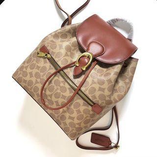 COACH 68563 新款女士後背包 經典標緻老花EVIE雙肩包 抽繩設計 C扣搭配 容量大 附購證