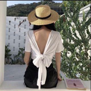 莫代爾棉 正反兩穿 美背綁帶短版素面上衣