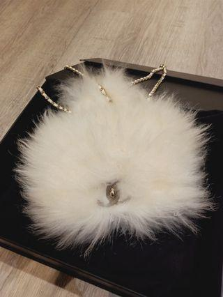 Unused Chanel mini white Fur shw #26 (missing card)