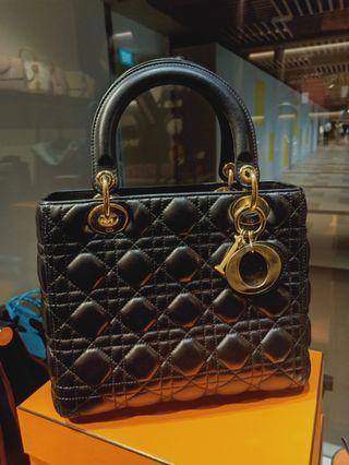 Today Deal!!S$2.250!!Lady Dior Black medium Lambskin