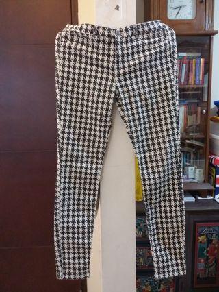 Zara houndstooth denim pants