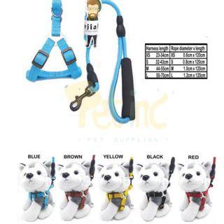 Dog rope H harness set blue XS