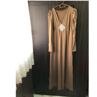 PRE WEDDING SALE- EMBELLISHED BROWN LONG DRESS