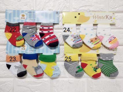 ($10 for 9pairs) 0-12months Baby Socks / $10 for 9pairs