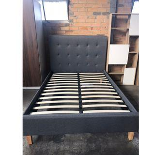 Fabric Queen Bed Brand New Grey Color with High Headboard at $350