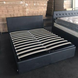 PU Leather Gas Lift Bed  (Double- $350/Queen-$370)
