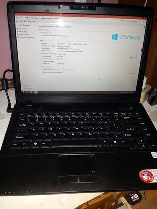 Laptop Axioo Mnc Dual core Tinggal pakai