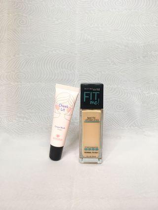Maybelline Fit Me Foundation 120 Matte + Emina Cheek Lit Cream Blush Pink