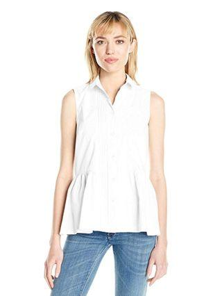 French Connection cotton peplum blouse top