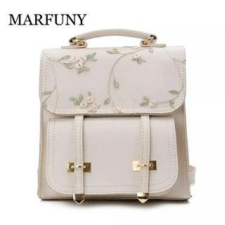 [po]Leather floral backpack