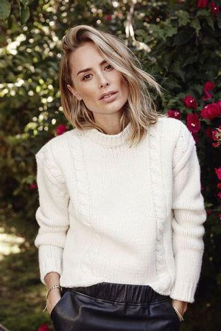 Anine Bing Wool Chunky Cable Knit Sweater Top in Cream - Size S RRP $500