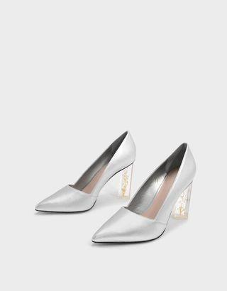 🚚 LOOKING FOR: floral lucite heels in silver grey-ish
