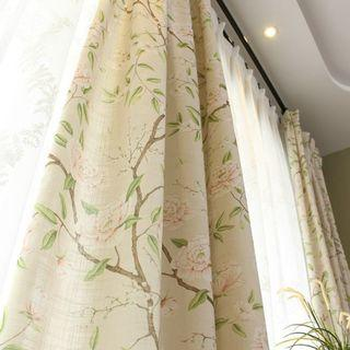 Custom Made Country Style Flora Beige Based Night Curtain