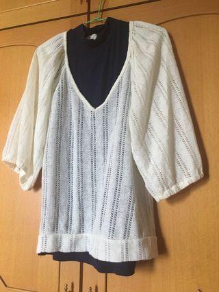 前後深v七分袖針織蕾絲棉衣