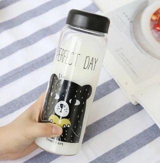 🚚 瘋狂大出清 玻璃瓶隨手瓶潮流學生透明熊熊冷水瓶